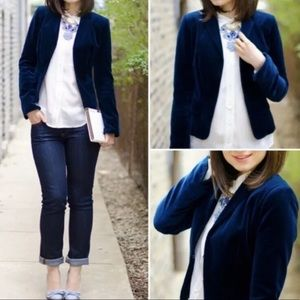 J Crew Blue Velvet School Boy Jacket
